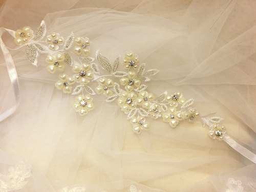 Classical elegant rhinestone lace pearl hair with the first ring-C-0008-3