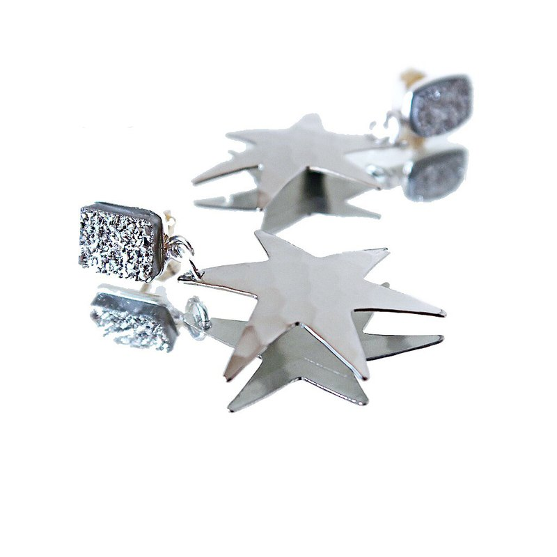 14KGF/ SILVER DRUZY HAMMERED STAR EARRINGS