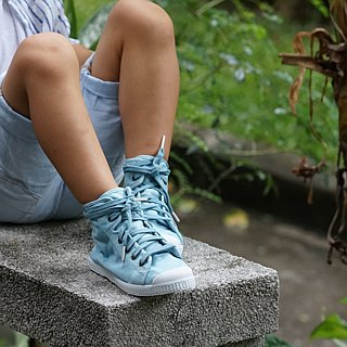 Spanish national canvas shoes CIENTA children's shoes size washed old light blue fragrant shoes 61777 72