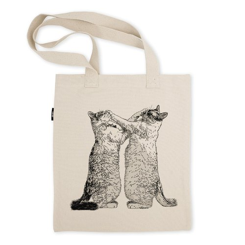 AMO®Original Tote Bags/AKE/Cats Who Promised Each Other Never Hitting Face But Both Did Only Did It