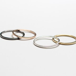 Simple series - four-color extremely elegant square ring / sterling silver and copper