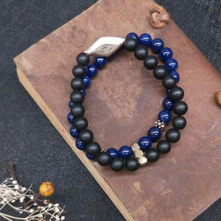 [The only product] lapis lazuli*black chalcedony*sterling silver double circle bracelet Valentine's Day Christmas gift
