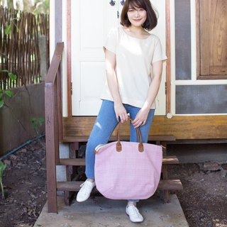Oversize Sweet Journey Bags Hand Woven and Botanical Dyed Cotton Pink Color