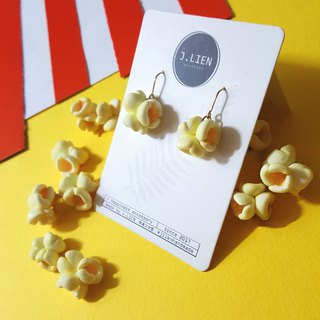 啵啵 popcorn ear needle / ear clip handmade earrings Korean hand made
