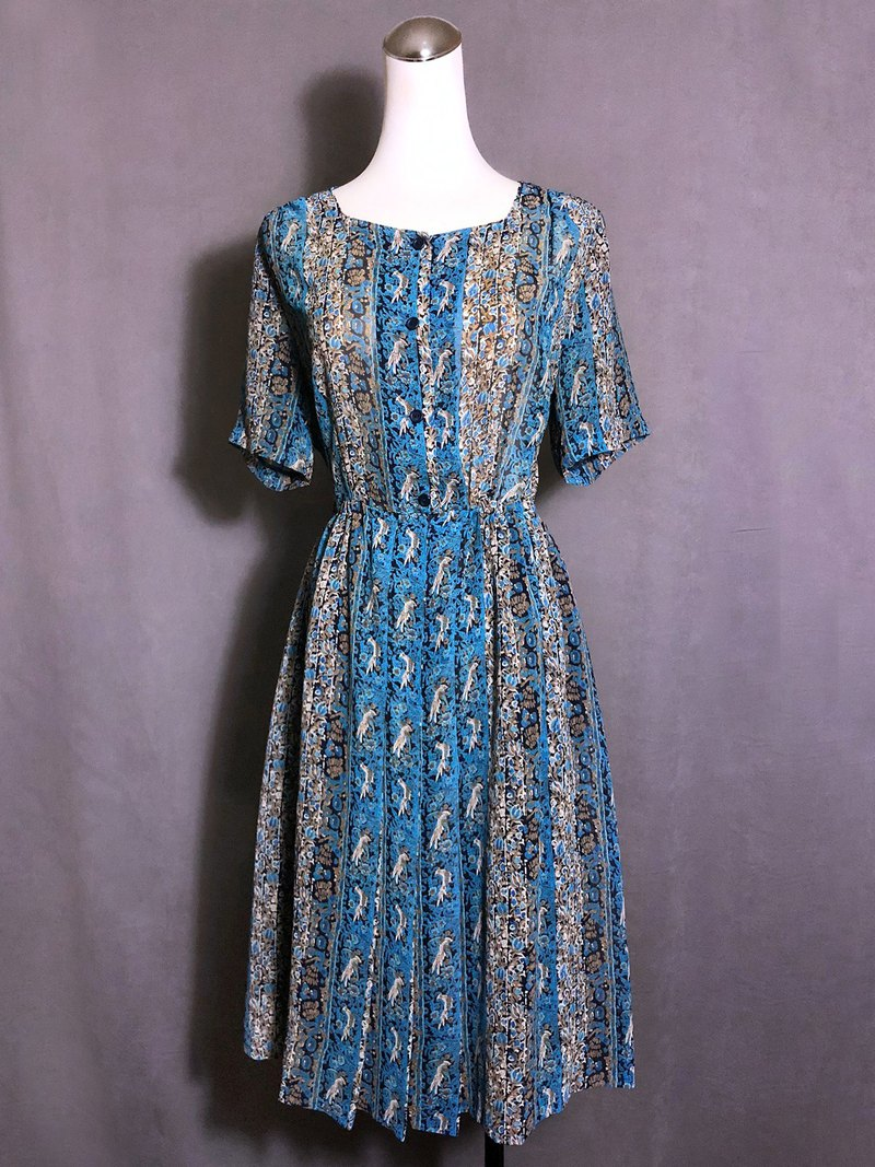 Parrot blue short-sleeved vintage dress / brought back to VINTAGE abroad