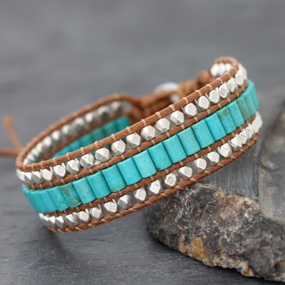 Turquoise Tube Silver Light Brown Bracelets Bohemian Style