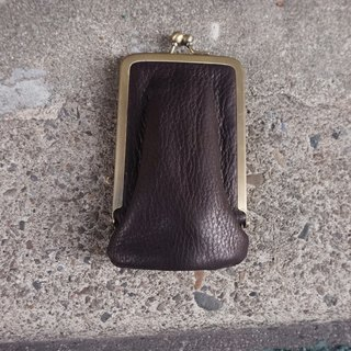 Sienna leather mouth gold business card holder
