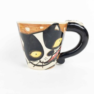 Nice Little Clay wide mouth mug upside down cat black and white cat 01062-03