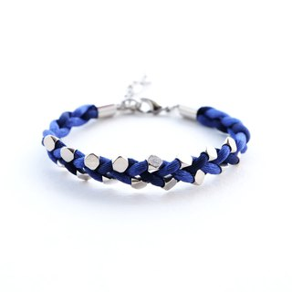 Blue navy blue silver bead braided bracelet