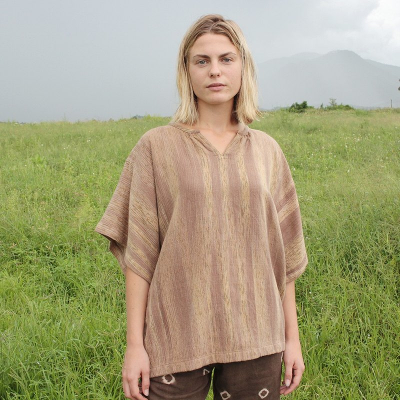 linnil: Autumn blouse / hand woven fabric / natural dye