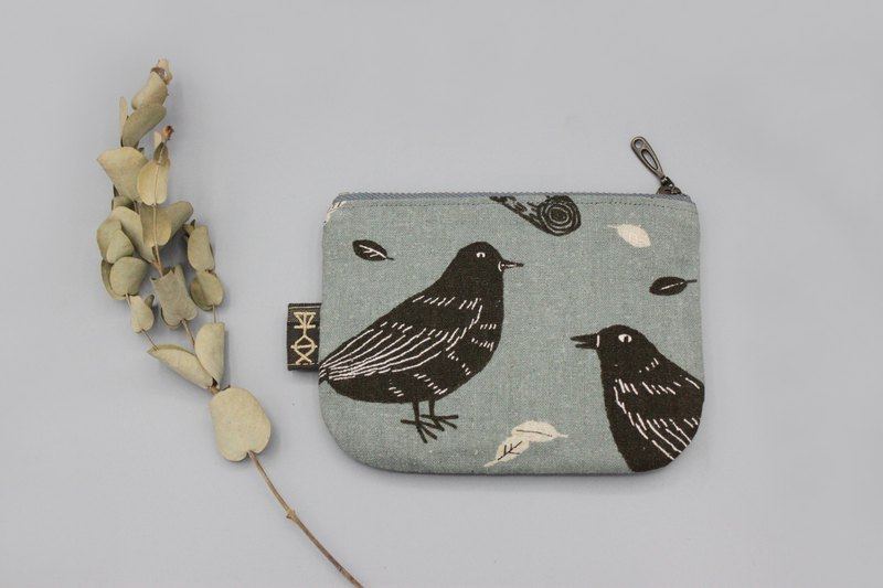 Peaceful little bag - leisurely bird (light gray blue bottom), double-sided two-color small wallet