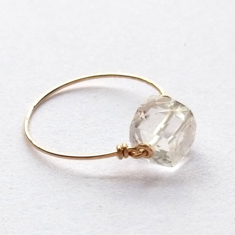 14kgf White Crystal Quartz Crystal-Sweet Sugar Ring