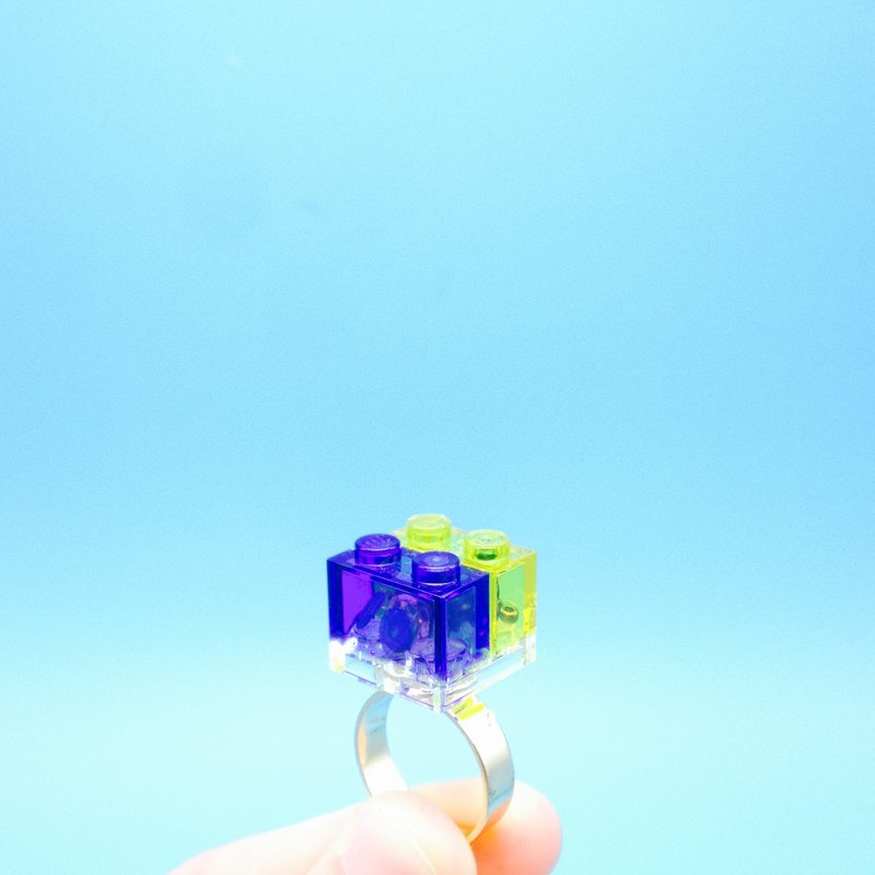 Blue - Yellow - Color blocking - Fashionable - LEGO RING