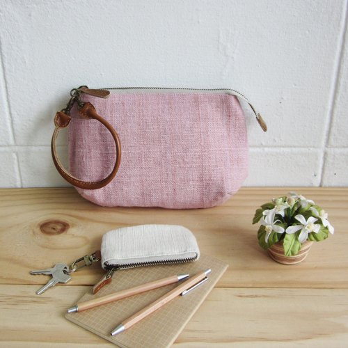 Multi-Purpose Pouch with Leather Strap Hand woven and Botanical Dyed Cotton Pink Color 小钱包