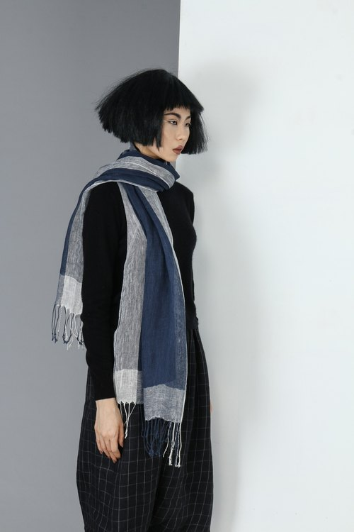 【Spot】 navy blue cotton to be scarf