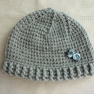 yuoworks / light knit cap with button(gray)