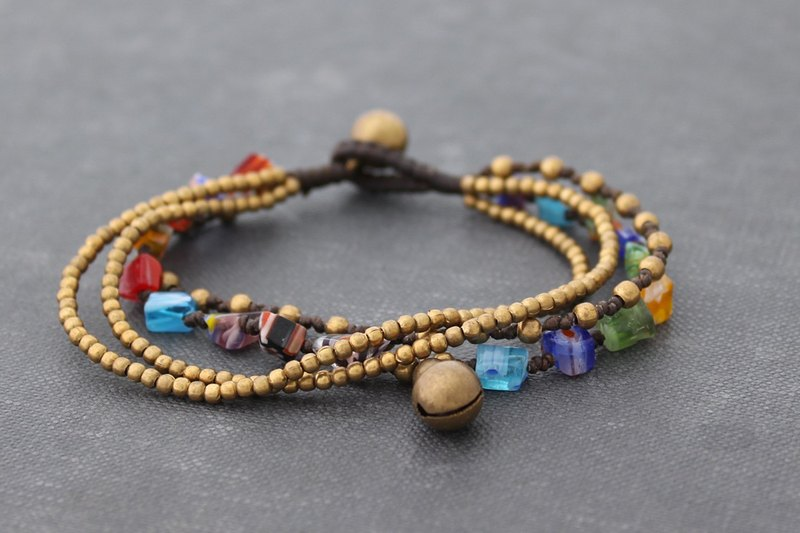 Beaded Bracelets Strand Polymer Glass Beads Rainbow Layering Chain