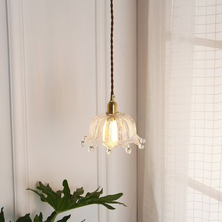 Good Form‧Good shape │ Retro ‧ Japanese style simple ‧ Brass glass ‧ Raindrop crown chandelier