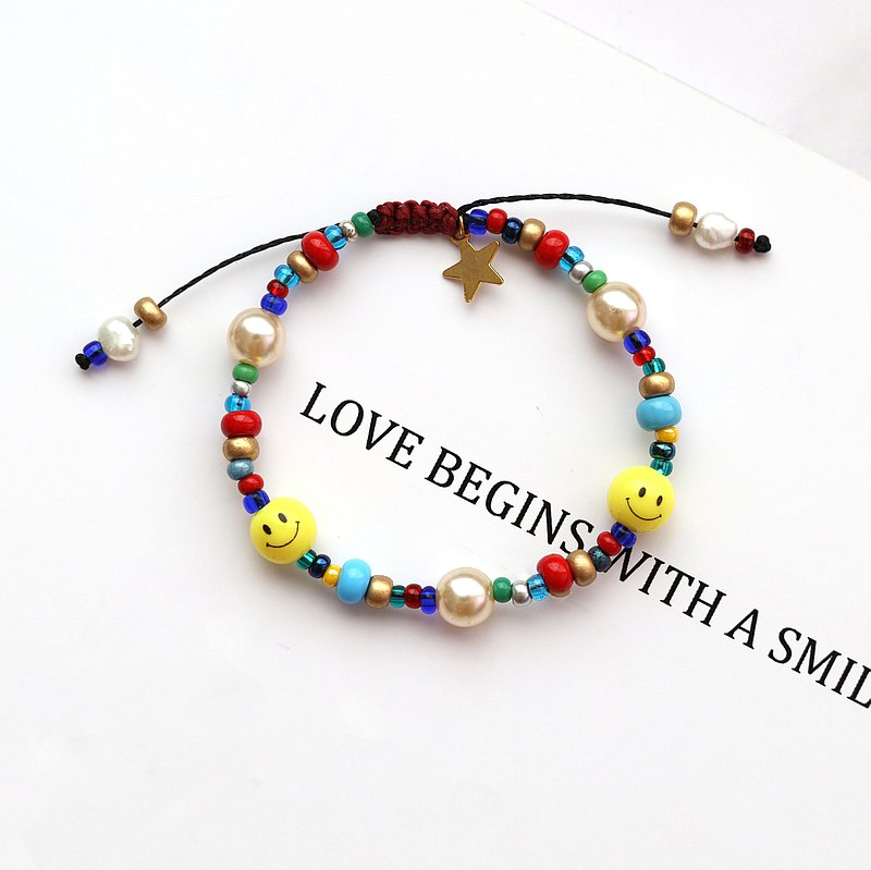 Yellow Smiley Colorful Glass Beaded Bracelet + Freshwater Pearl