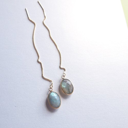 Oval Shape Dangle Labradorite Thread Earrings - 925 Silver | Plated with 18K Gold