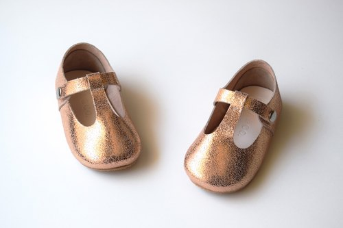 Rose Gold T Strap Baby Mary Jane Shoes, Toddler Girl Shoes, Flower Girl Shoes