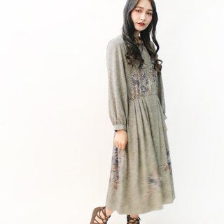 Japanese vintage gray flowers long-sleeved vintage dress Japanese Vintage Dress