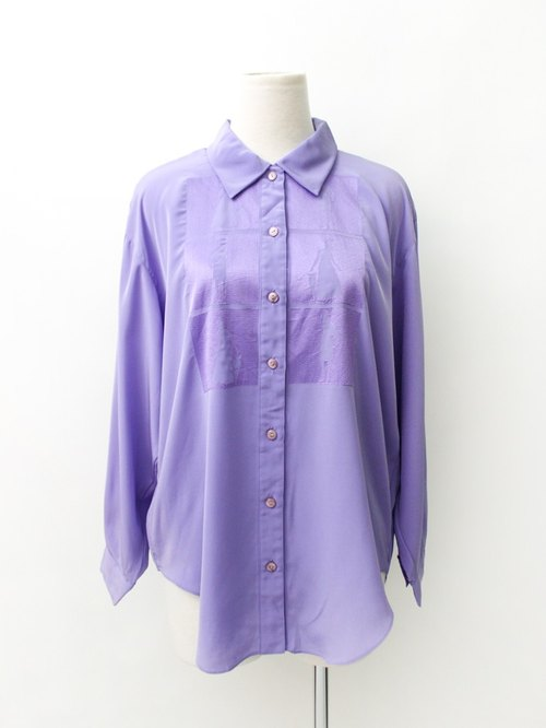 [RE0310T1827] Nippon retro silhouette loose vintage print purple shirt