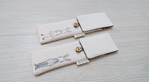 Green cutlery storage bag combination chopsticks special hand-painted rabbit lovers paragraph 2 1 group