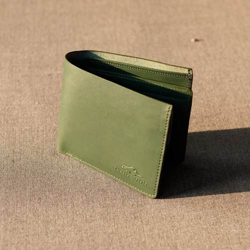 UNISEX SHORT WALLET WITH DETACHABLE CARD WALLET MADE OF HIGH QUALITY VEGETABLE TANNED LEATHER FROM JAPAN-GREEN