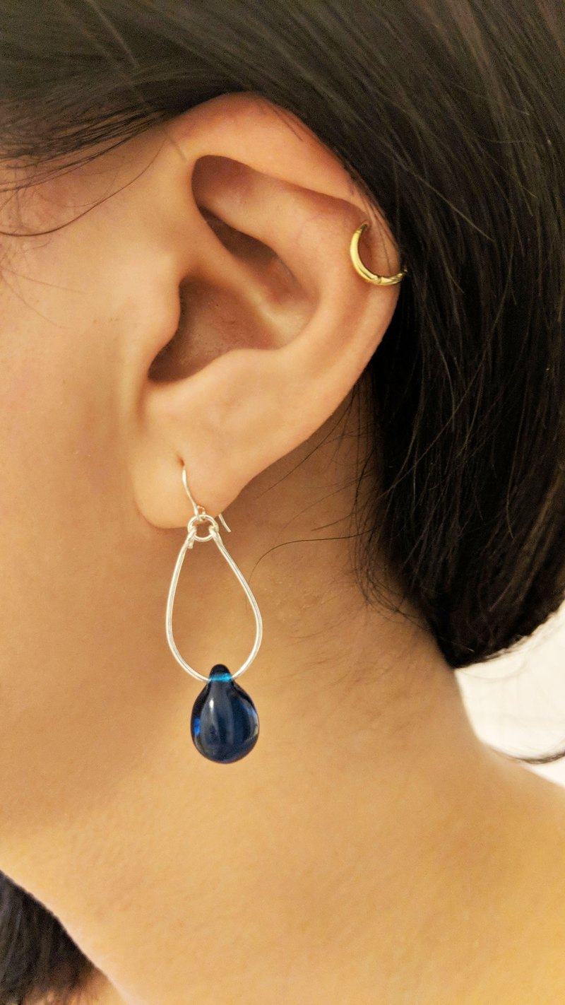 Sterling Silver Blue Glass Drop Earrings