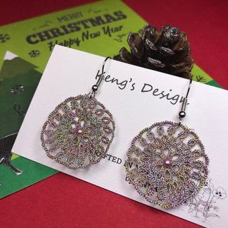 Dreamcatcher earrings (magic color) / tatted lace / gift / Swarovski crystal pearl/ customize