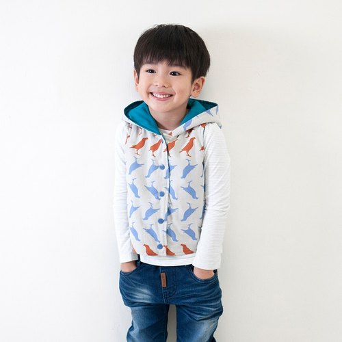Taiwan starling hooded reversible cotton padded vest_gray & green_kids