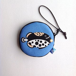 Design No.CT149 - 【Cotton Canvas】Clown Triggerfish Purses#White/Blue