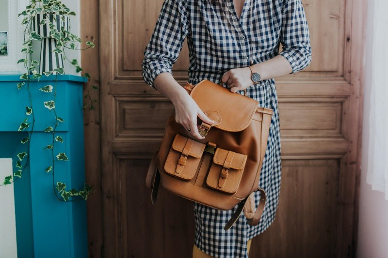 San Jose Tan handmade cowhide metal buckle backpack caramel