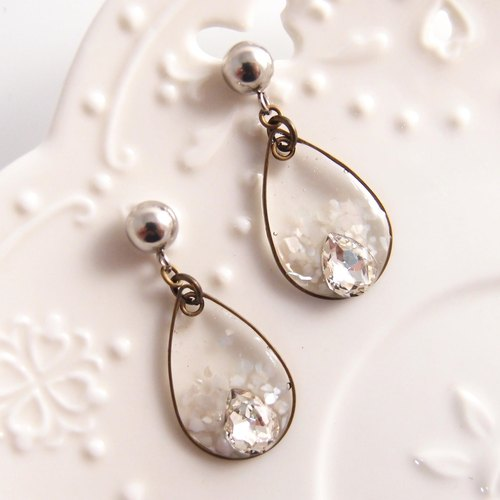 White water droplets [Cr0204-W] clip-on earrings ● needle earrings [Rhinestone drop earrings]