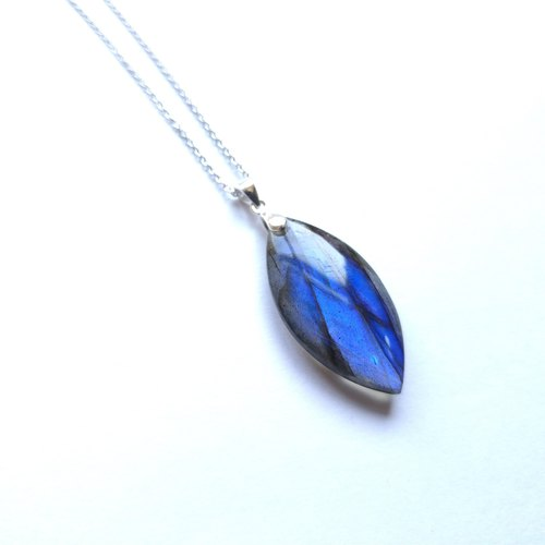 Labradorite Deep Blue Silver Necklace