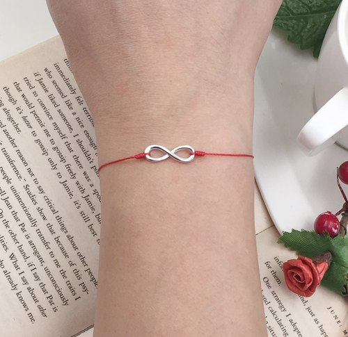 925 Sterling Silver Infinity Symbol Red Line Hands Infinite Love Love Infinity Math Infinity