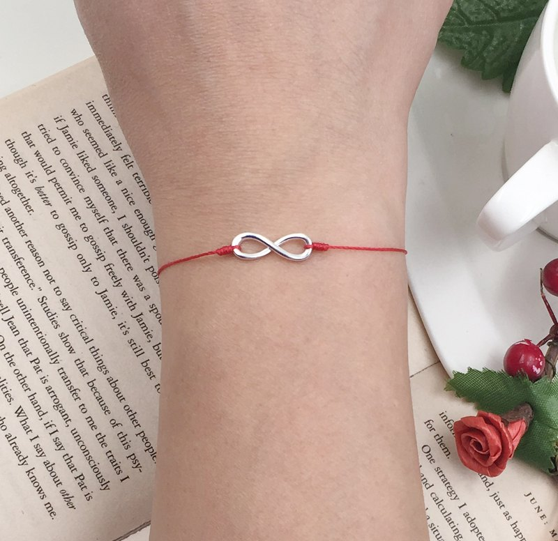 925 Sterling Silver Infinity Symbol Red Line Hands Infinite Love