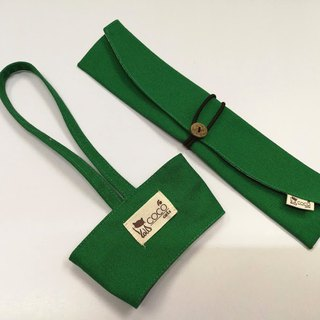 Environmentally friendly chopsticks bag cup set ~ portable beverage cup bag. Cutlery set portable storage bag chopsticks sets (green plain canvas)
