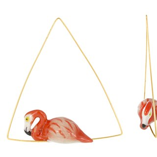 Flamingo Triangle Creoles Earrings