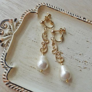 Elegant Charm and Drop Cotton Pearl Earrings