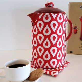 French Press Cosy (Red White patterns)