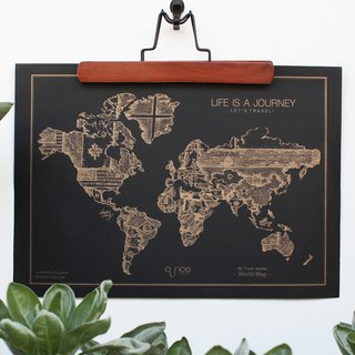 OUNCE World Map Poster - Gold