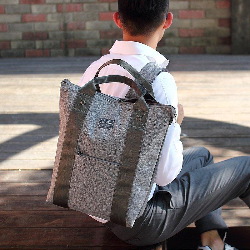 雙帶好用手提後背包-灰色_100454