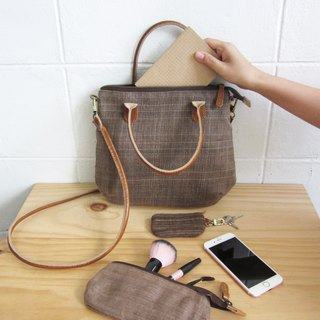 Crossbody Midi Curve Bags Hand Woven and Botanical dyed Cotton Brown Color