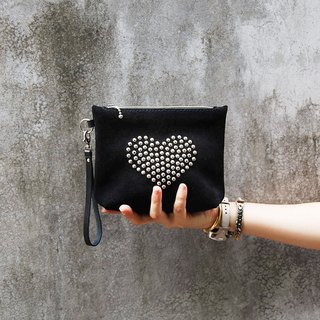 Black suede love nail makeup bag / clutch bag