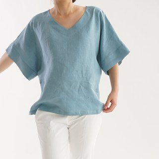 Linen Roughly V-neck Drop Shoulder Tunic / Shallow Color t16-5