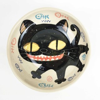 Nice Little Clay handmade shallow bowl happy big black cat 02011-13