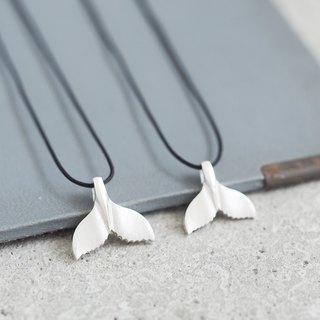 2 co set) String whale's tail pair Necklace 925 Silver