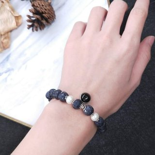 [The only product] sapphire ore*pearl*black chalcedony * pure silver beads bracelet